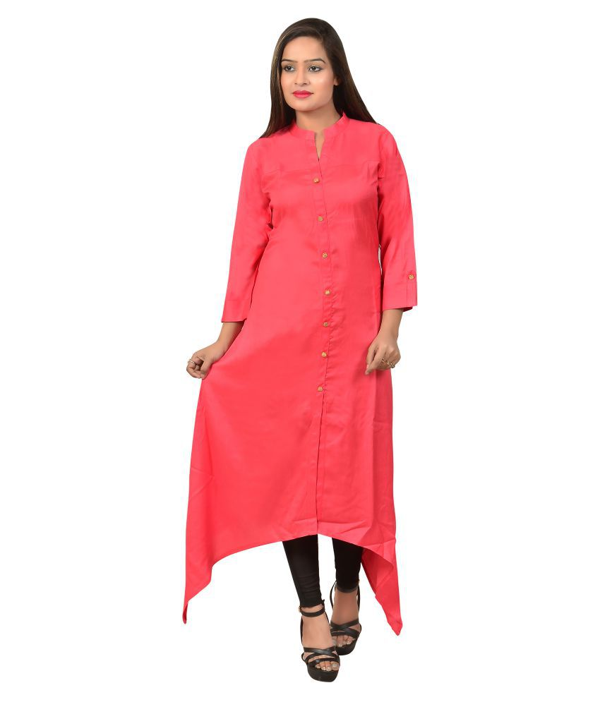 Indofashion Pink Rayon Asymmetrical Hemline Kurti