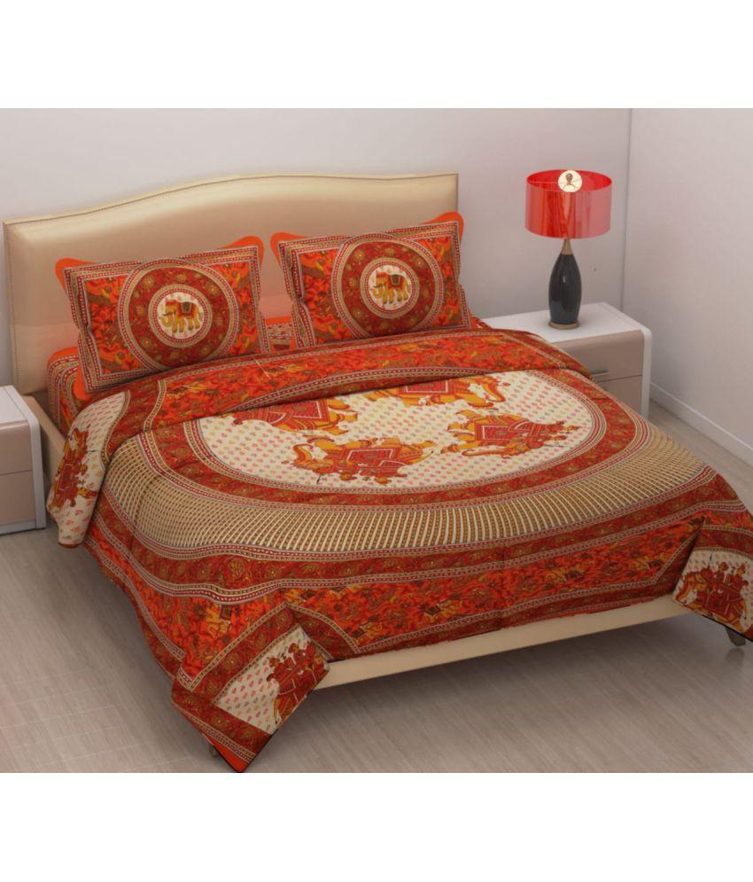 Kaizen Decor Cotton Double Bedsheet with 2 Pillow Covers