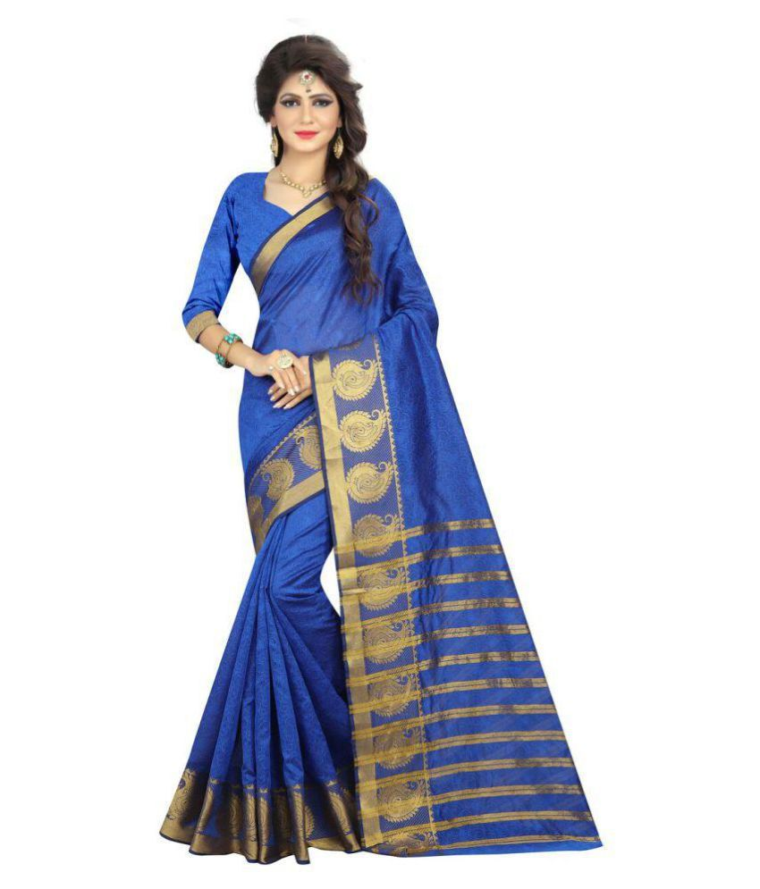 womenstyle Blue Art Silk Saree