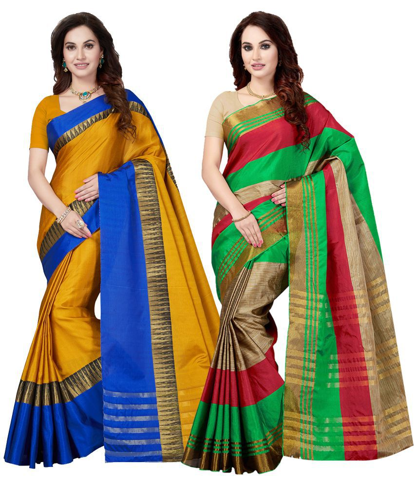 Ishin Multicoloured Silk Blends Saree Combos