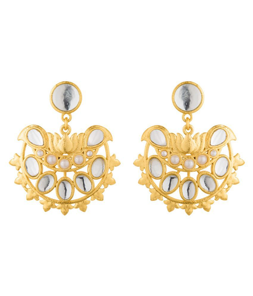 Voylla Nikaah White Pearl and Kundan Drop Earrings