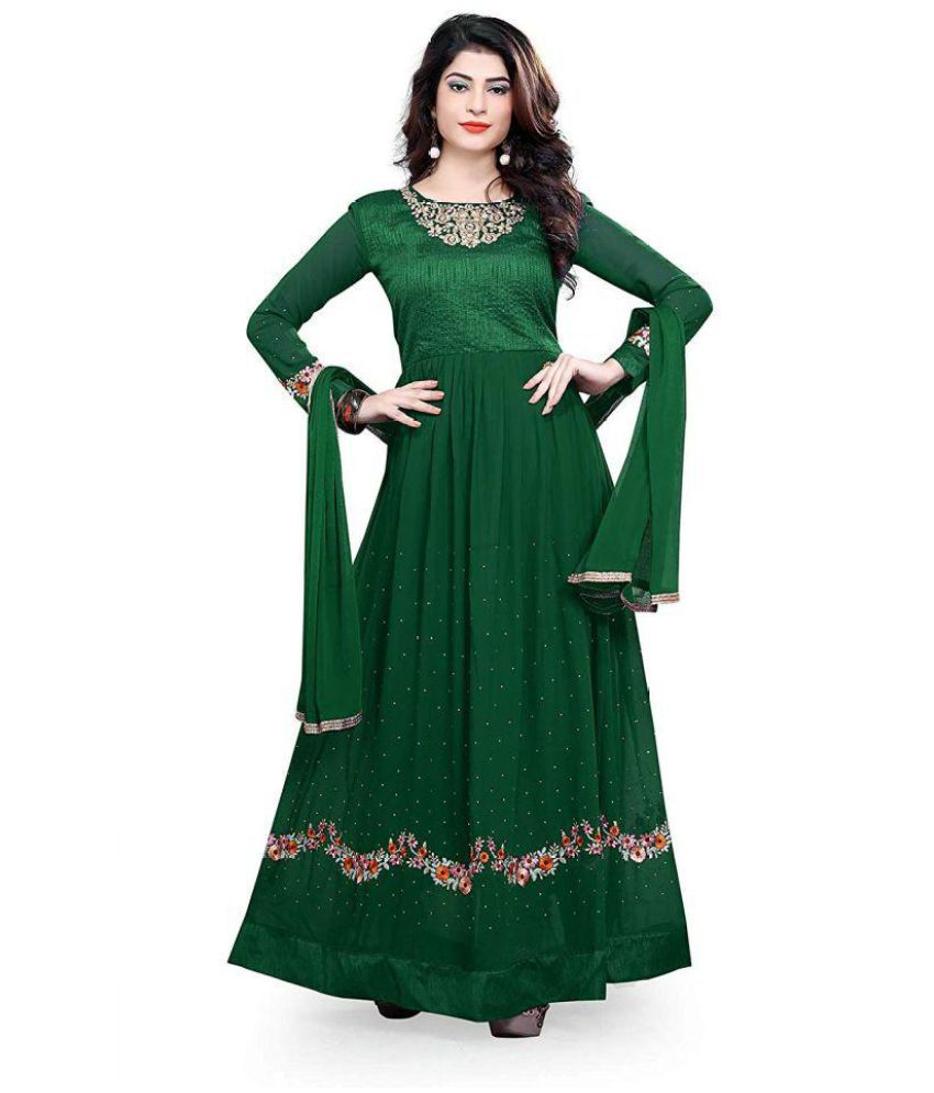 a6b1b11a5 ... Wommaniya Impex Green Bangalore Silk Anarkali Gown Semi-Stitched Suit  ...