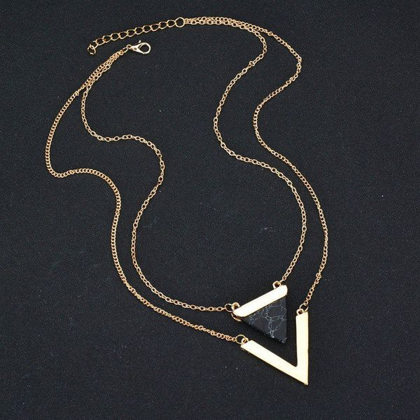 Kamalife Women Gold Color Punk Necklaces From India Hot Geometric Triangle Faux Marble Stone Pendant Necklace Vintage Jewelry