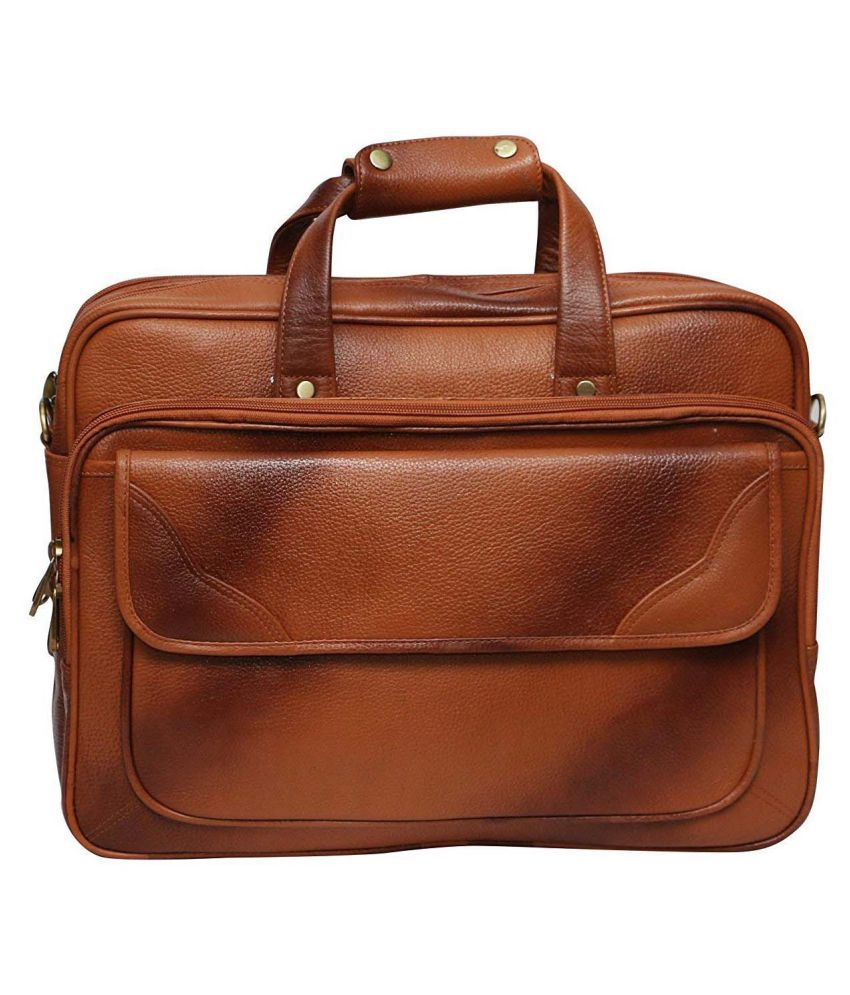 Hifly Laptop Messenger Bag with Expandable Features Tan Leather Office Messenger Bag