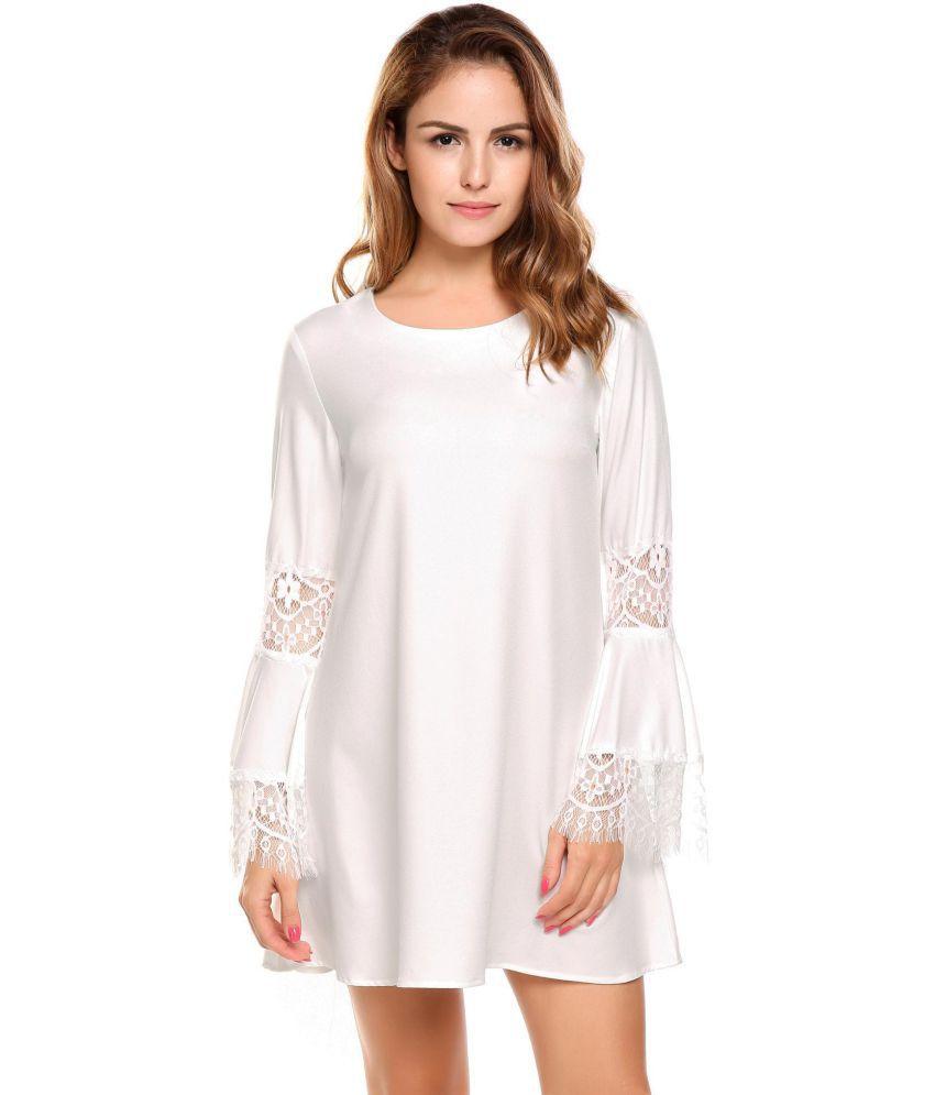 Generic Cotton white Asymmetric dress