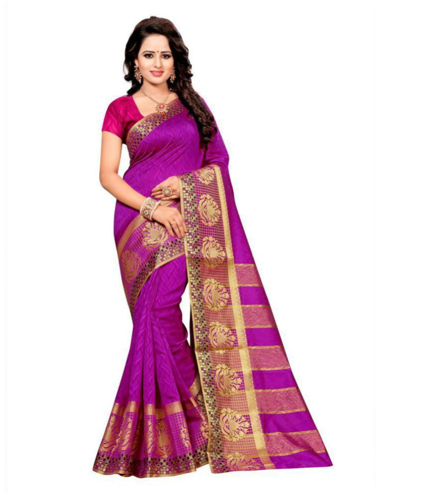 Dhwani Enterprise Purple Cotton Silk Saree