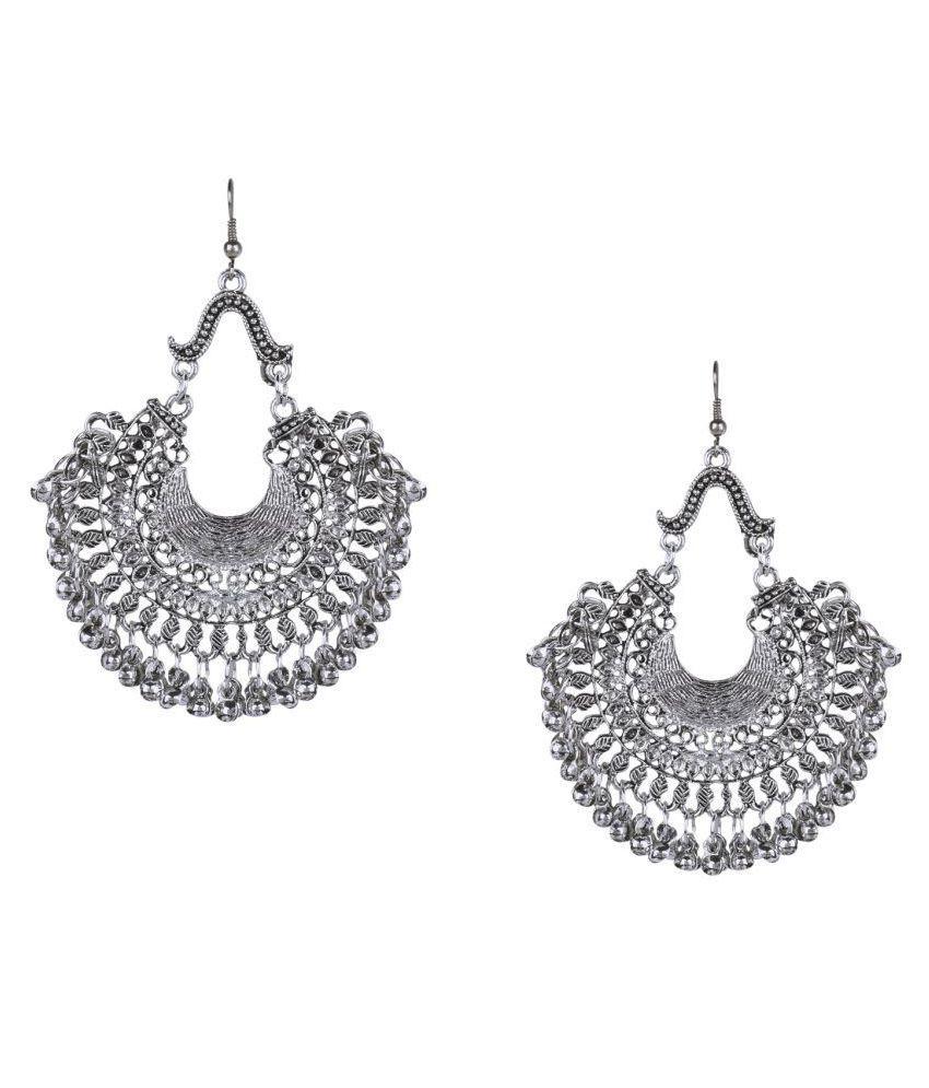 Shining Jewel 925 Antique Silver Oxidised Afghani Chandbali Earrings (SJ_938)