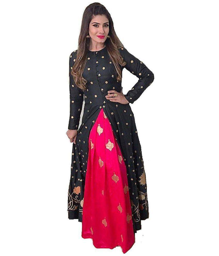 shree sai creation Black Cotton Silk Dress Material