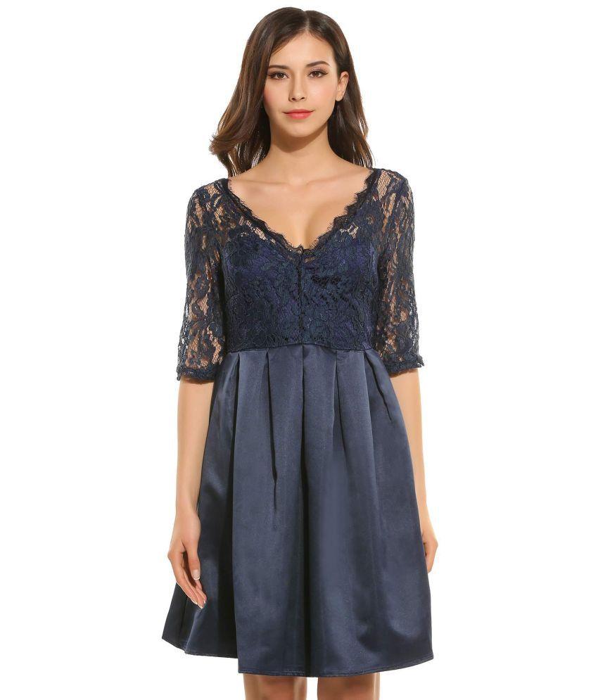Generic Lace blue Asymmetric dress