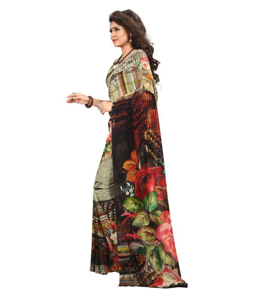 39dd65105f Kalaa Varsha Brown and Beige Georgette Saree - Buy Kalaa Varsha Brown and  Beige Georgette Saree Online at Low Price - Snapdeal.com