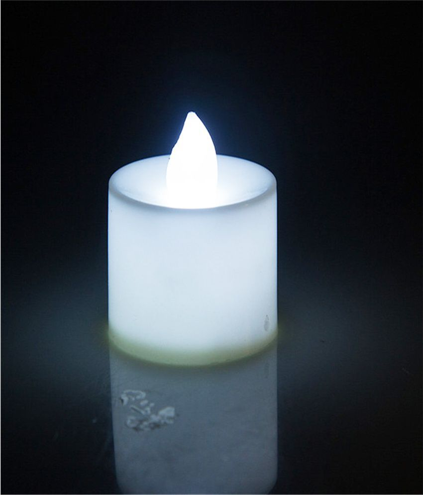 Woohill Led Electronic Candle Light Diwali Wedding Decoration Birthday White Pack Of