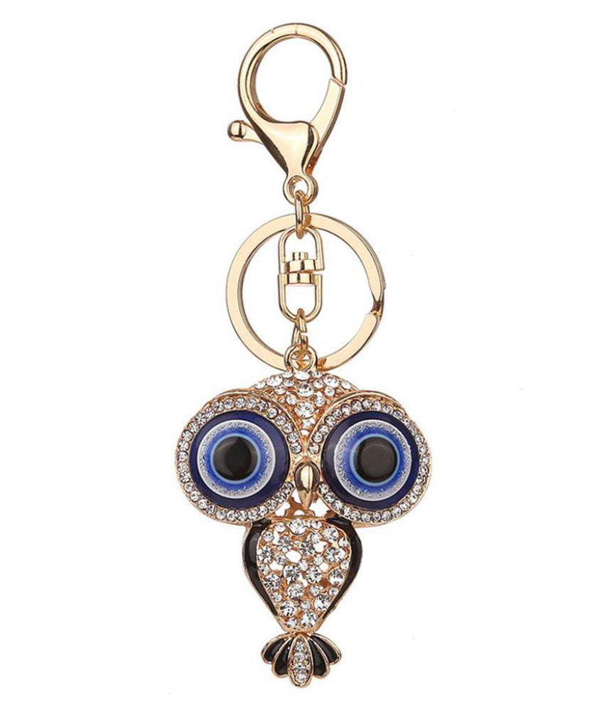 Cartoon Big Eyes Owl Shiny Rhinestone Key Chain Car Bag Key Ring Women Gift