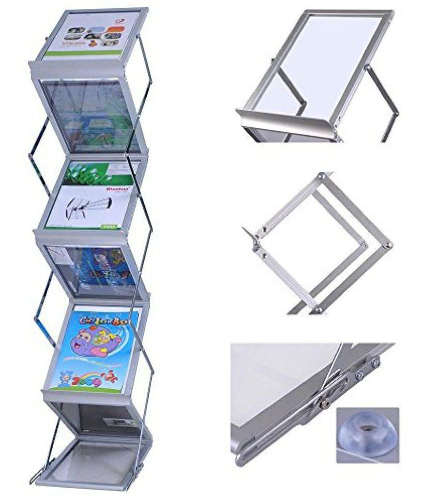 Abha A4 Large 6 Tray Catalogue Stand,Magazine Stand, Portable Brochure Stand, Leaflet Stand, Magazine Rack,Folding Zigzag Magazine Holder for Office