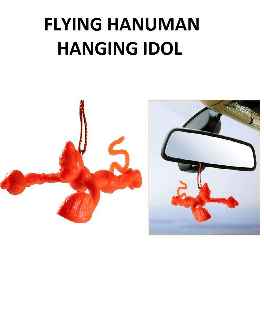 Flying Lord Hanuman Hanging Car Idol Orange