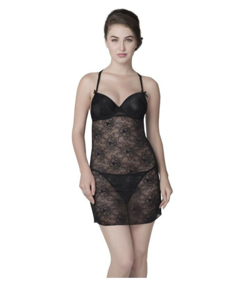 1b76a77a3 Buy Be Mine by Lingerie Shop Nylon Baby Doll Dresses With Panty - Black  Online at Best Prices in India - Snapdeal