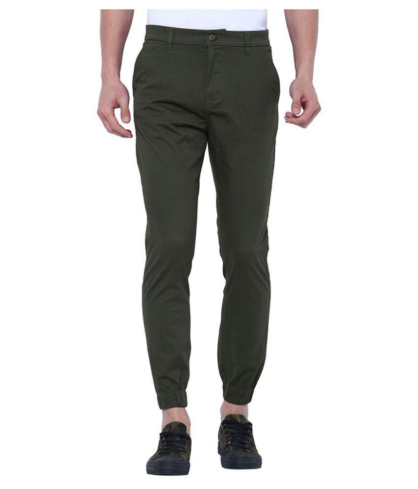 Highlander Green Slim -Fit Flat Joggers