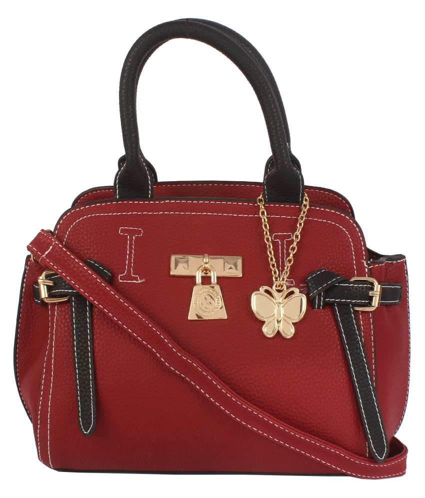 Butterflies Red Artificial Leather Handbags Accessories