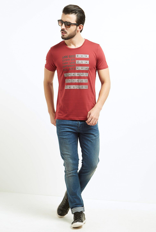 Fritzberg Red Half Sleeve T-Shirt