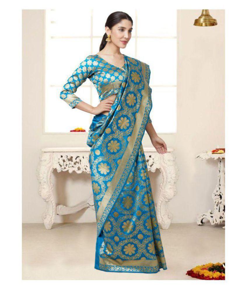 e708f1779 SareeShop Designer SareeS Green and Blue Silk Saree - Buy SareeShop ...