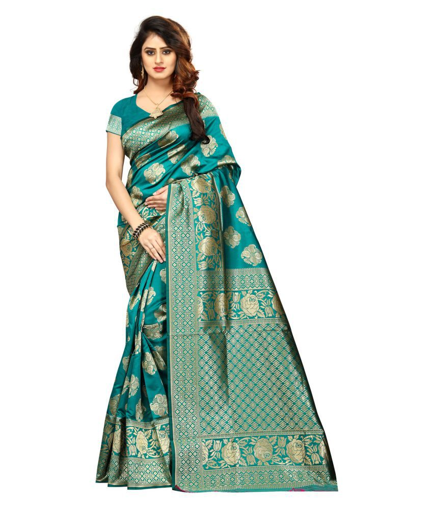 G Fashion Studio Turquoise Banarasi Silk Saree