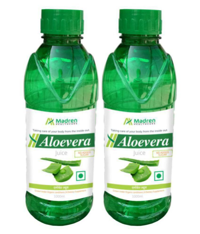 Madren Healthcare Aloevera 1 Ltr PACK OF 2 Health Drink Liquid 2000 ml Unfalvoured Pack of 2