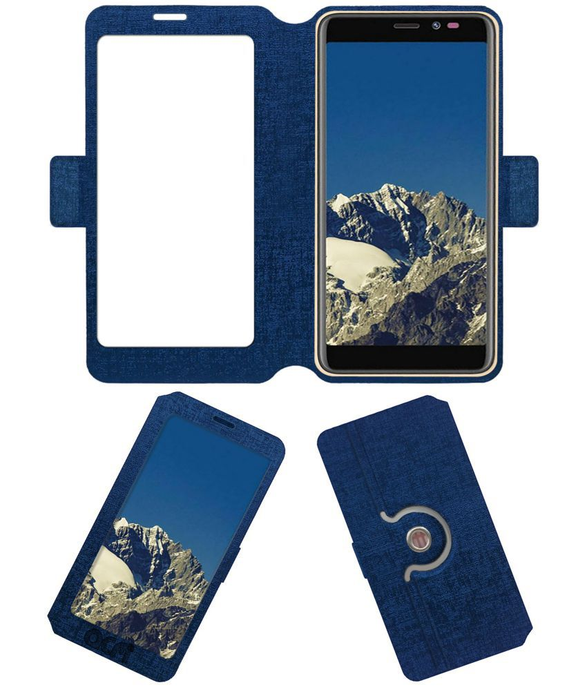 Mobiistar C1 Lite Flip Cover by ACM - Blue Dual Side Stand