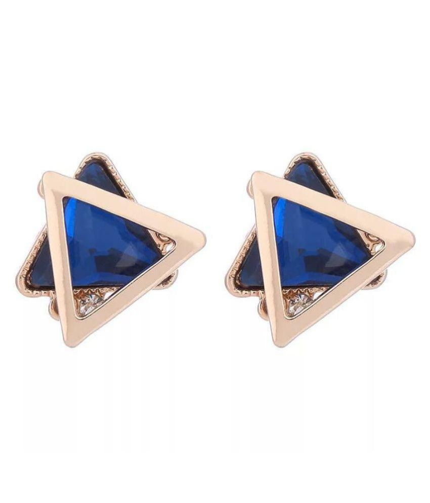 Popmode Gold Plated Blue Stone Studded Geometric Pattern Fashion Stud Earrings for Girls Or Women