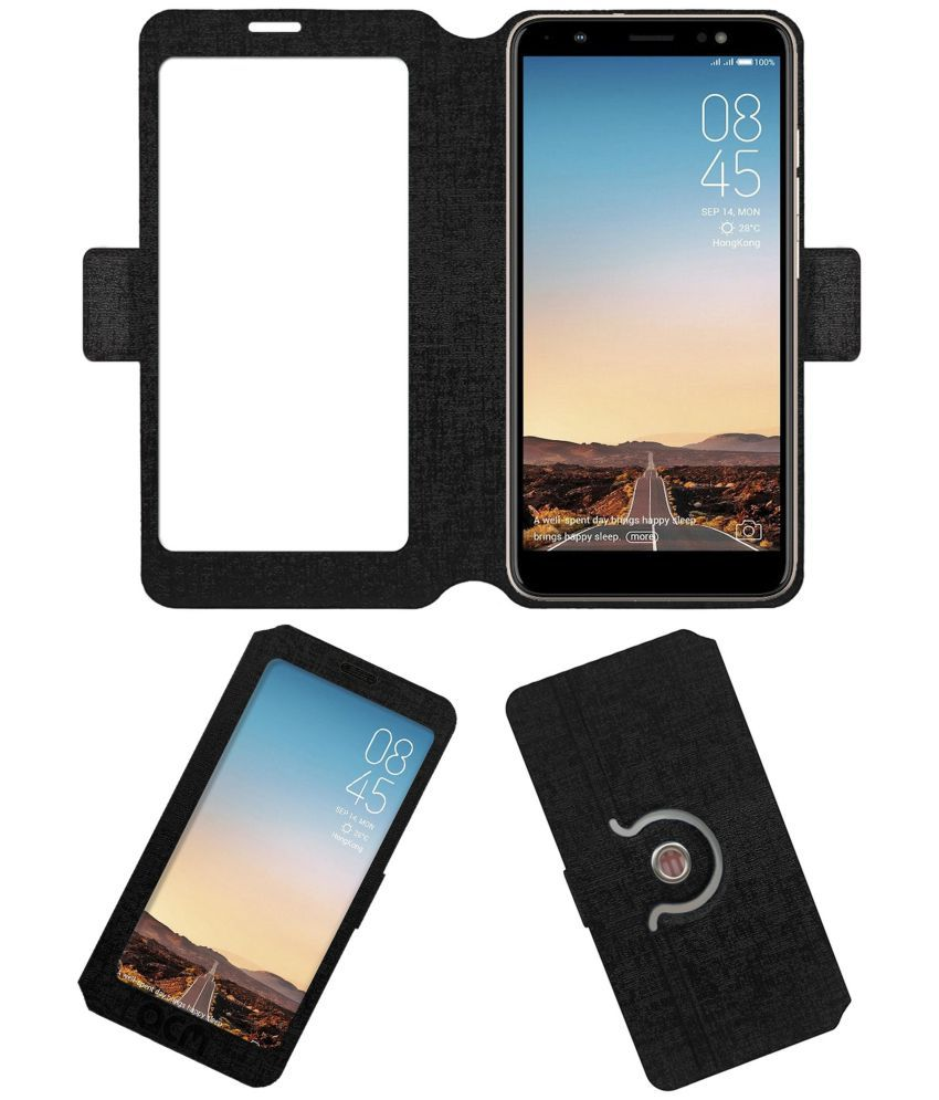 new products 4f384 8cc02 Tecno Camon i Sky Flip Cover by ACM - Black Dual Side Stand