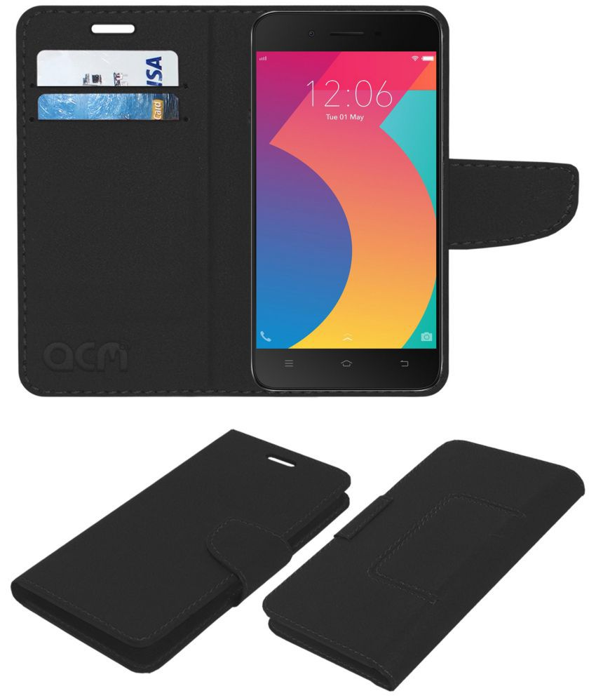 new style 087a6 a2bb7 Vivo Y53i Flip Cover by ACM - Black Wallet Case,Can store 2 Card/Cash
