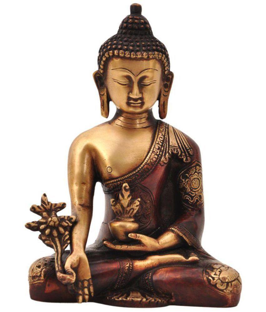 Aesthetic Decors Buddha Brass Idol