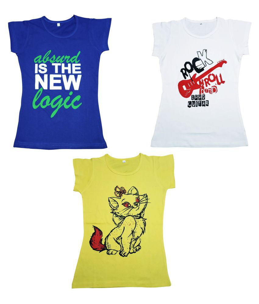 Diaz® Cotton Printed T-Shirt For Girls Pack Of 3