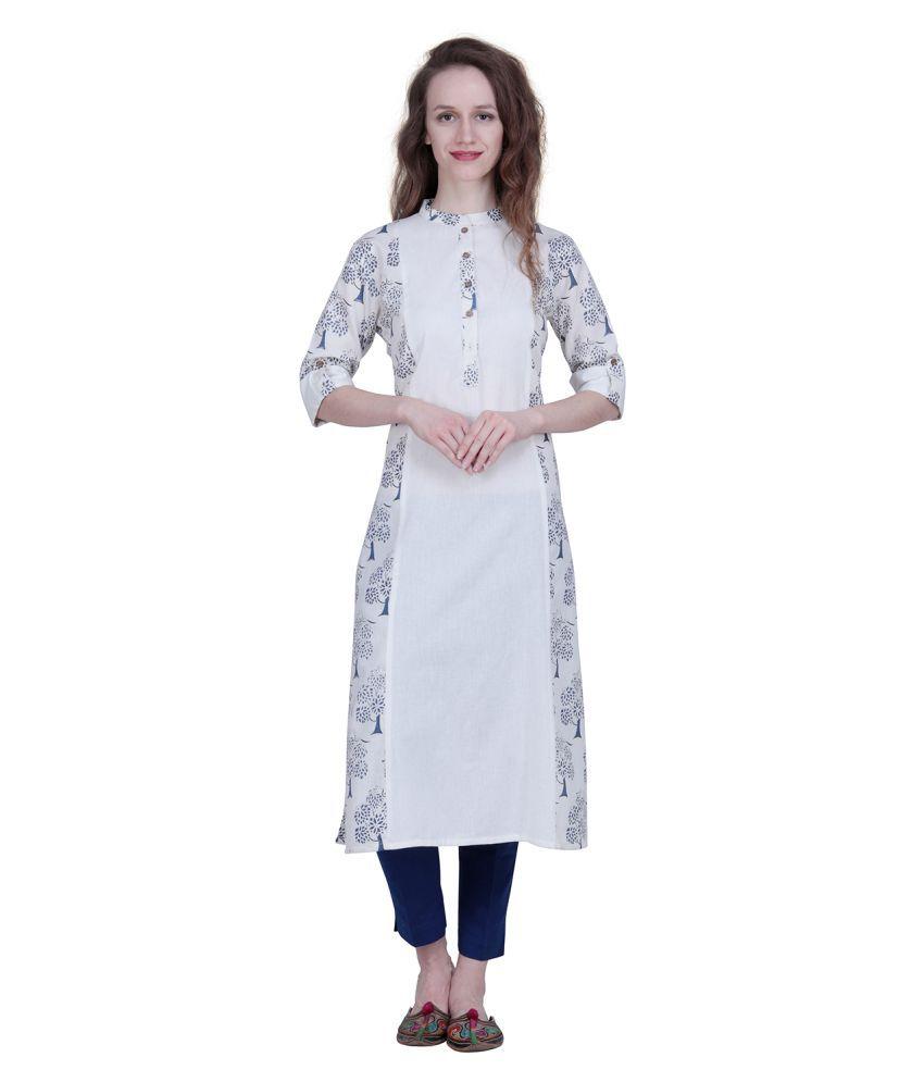 The Kala Shop White Cotton Straight Kurti