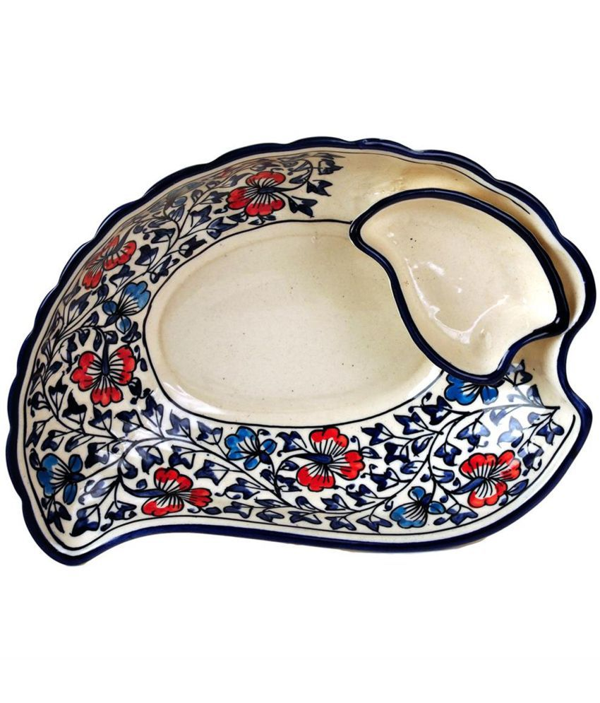Craftghar Snack Serving Tray and Dip bowl platter in Handmade Blue Ceramic Pottery | Snack tray Hand painted with chutney bowl attached for Dinning table/Kitchen , Multi Color