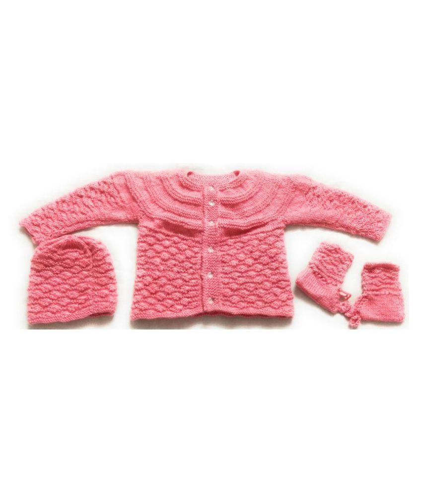 8ccb315db New Jain Traders - Hand Made New Born Baby Vardhman Woolen Knitted Baby  Sweater Set (3Pcs Suit) for Baby Boys or Girls (6-12 Months