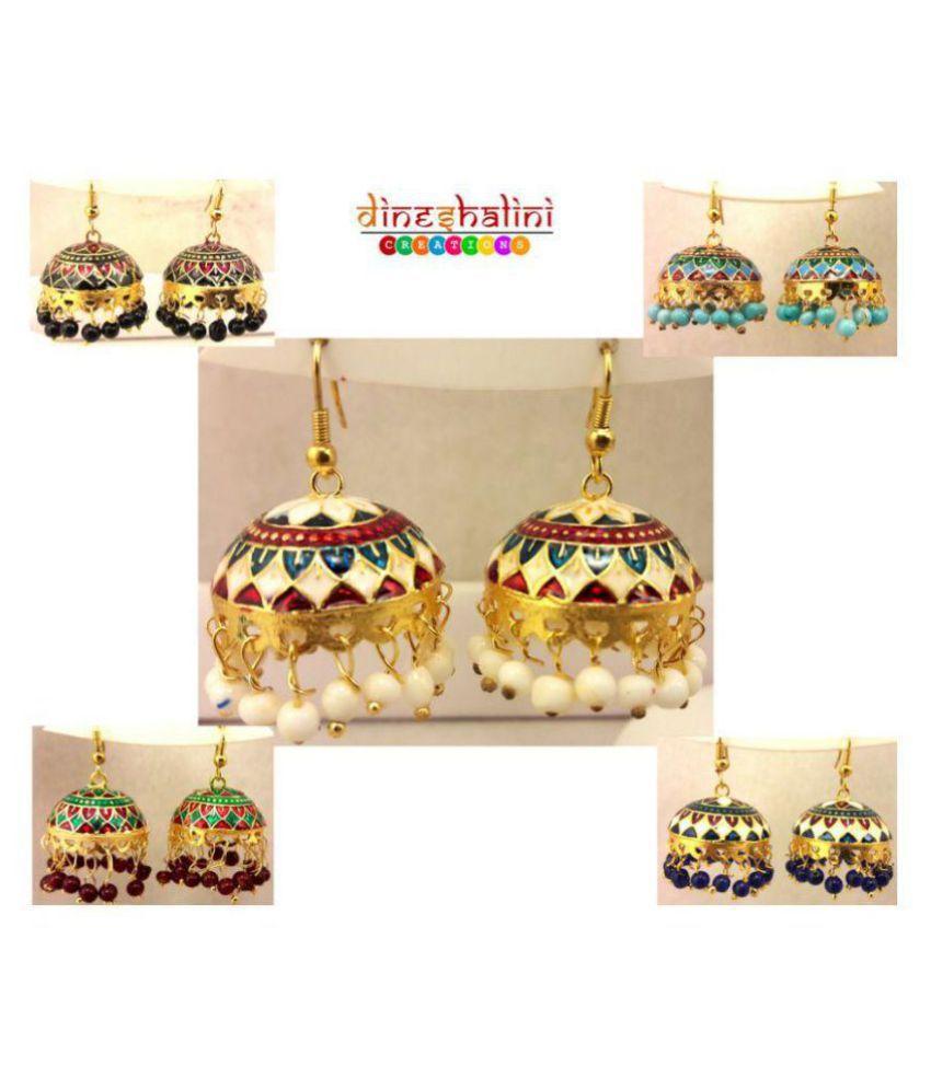 Dineshalini Creations Meenakari Set of 5 Multicolor Jhumkis  Earrings