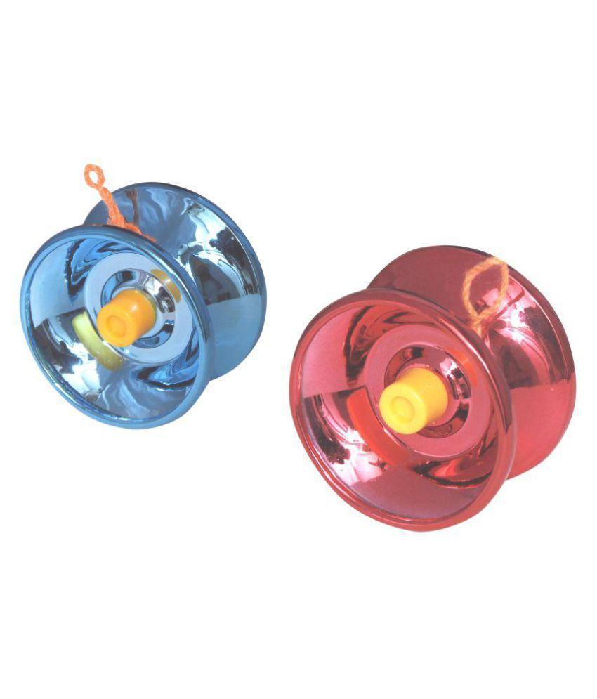Homeshopeez Glossy Blue - Red Metal Toy Yoyo - Set of 2