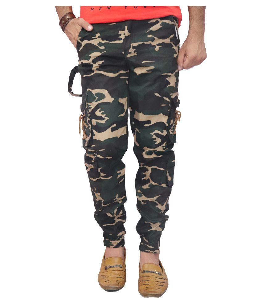 POOL CLUB Khaki Regular -Fit Flat Trousers