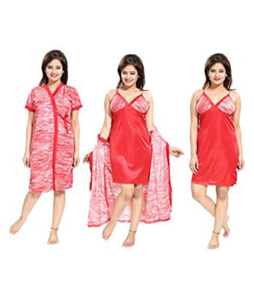 c388e271ad Buy TUCUTE Satin Nighty   Night Gowns - Red Online at Best Prices in India  - Snapdeal