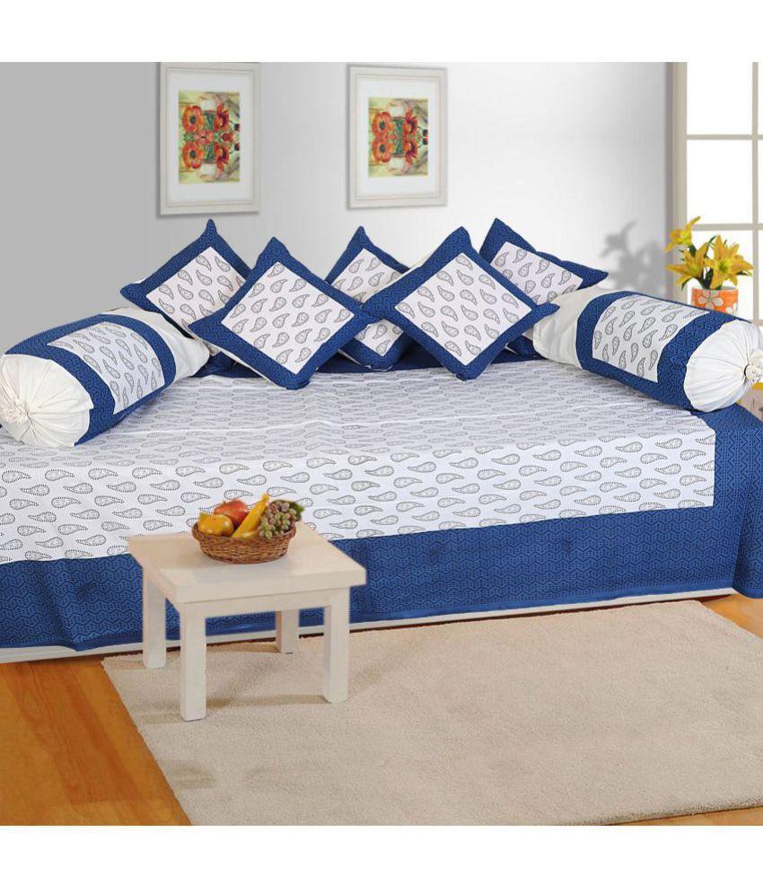 Bombay Spreads Cotton Blue Floral Diwan Set 8 Pcs