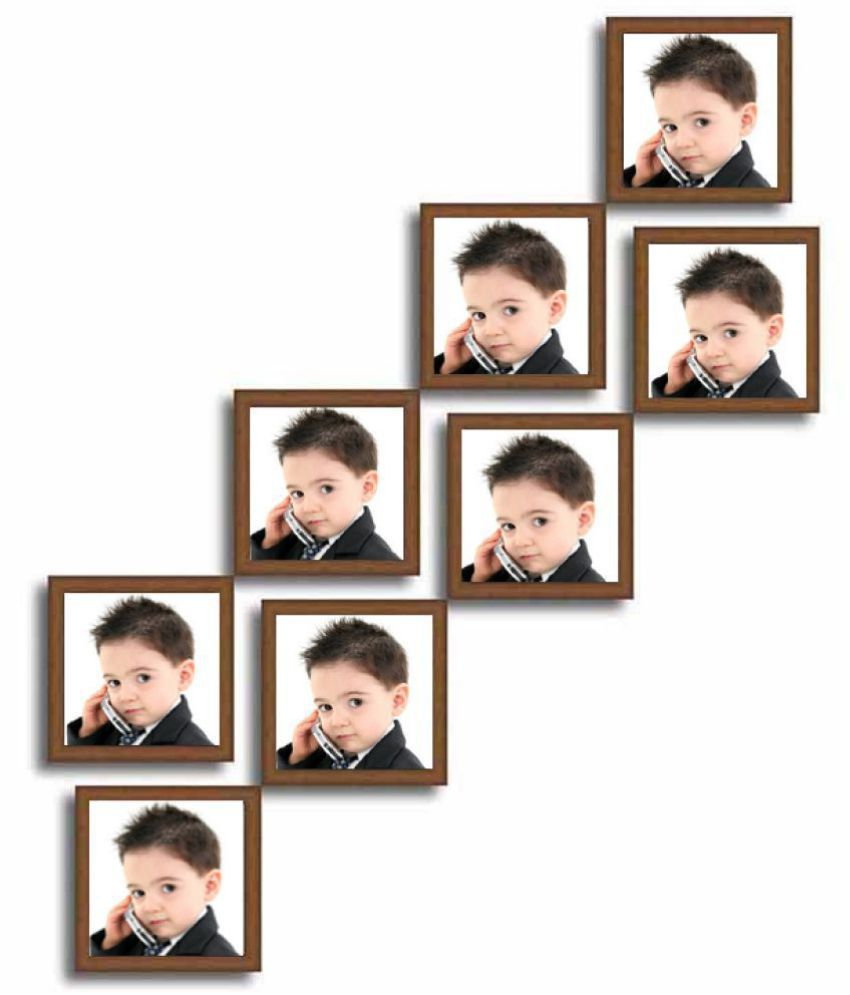 MAGIC GIFT Wood Wall Hanging Brown Photo Frame Sets - Pack of 8