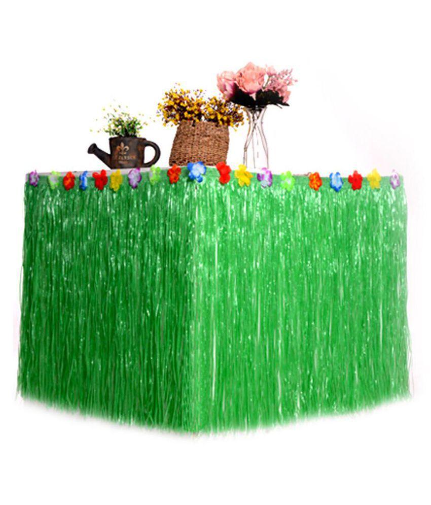 c6288c4d4e1 Tropical Hawaiian Luau Party Garden Beach Table Skirt Grass Flower ...