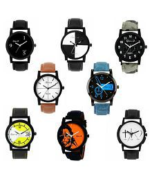 Gen-Z Trendy Graphic Leather Strap Combo of 8 watches Leather Analog Men's Watch
