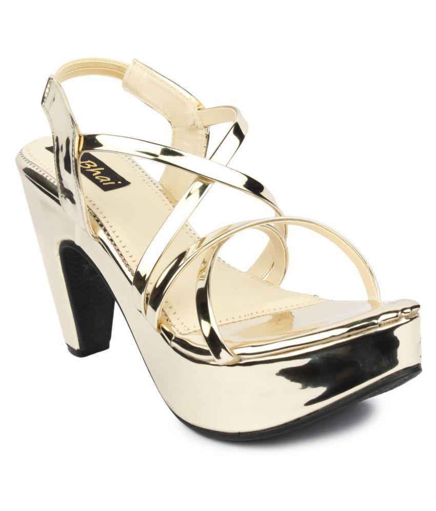 24178e0b2f5 Do Bhai Gold Block Heels Price in India- Buy Do Bhai Gold Block Heels Online  at Snapdeal