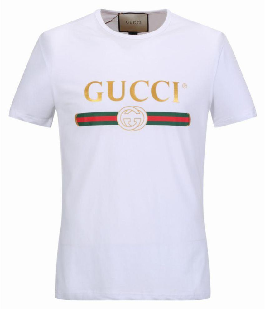 04781be4078e7 Gucci White Half Sleeve T-Shirt