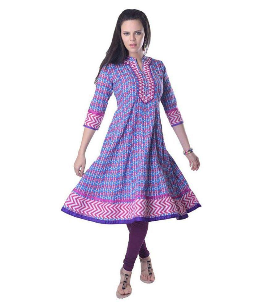 Vastra Vinod Blue Cotton Anarkali Kurti