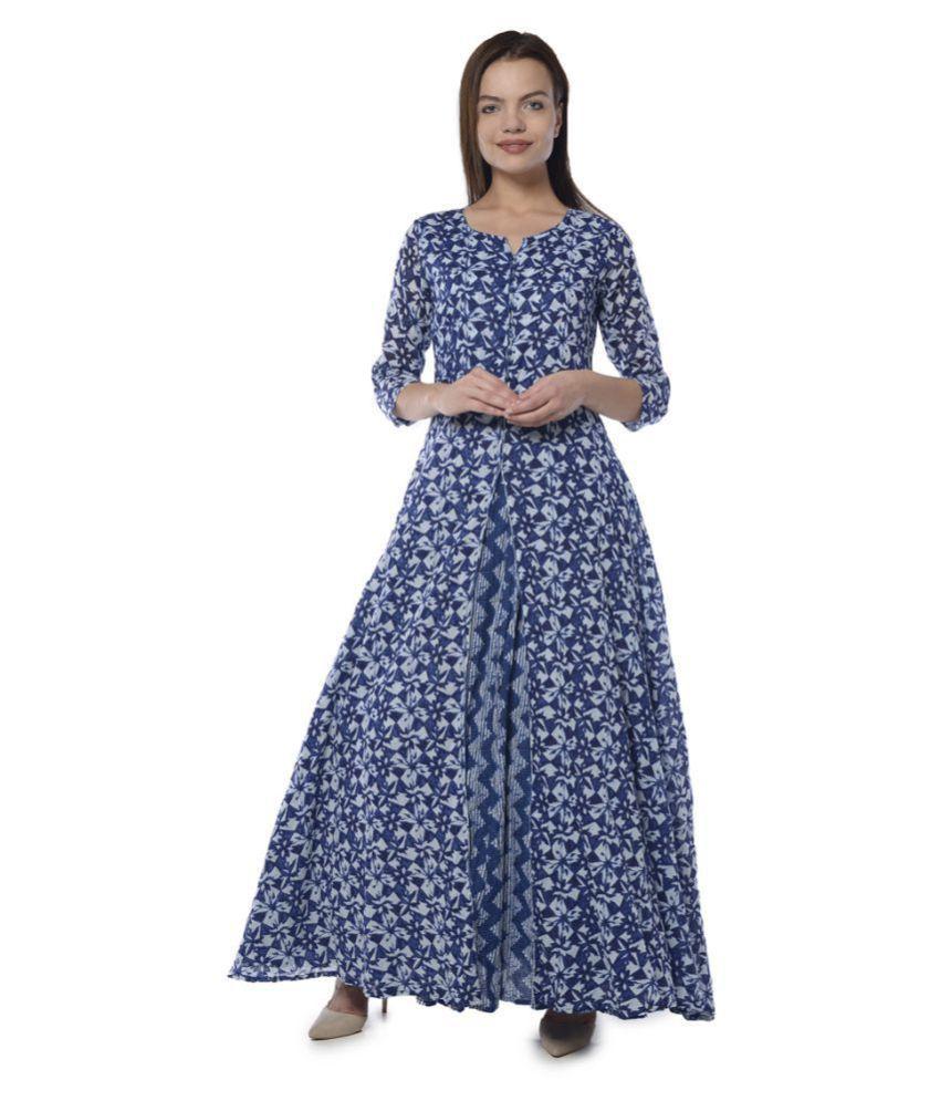 Vedic Blue Cotton Anarkali Kurti