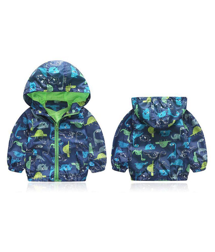 Baby Windbreaker Cartoon Dinosaur Print Cute Outerwear Kids Hooded Jacket Coat