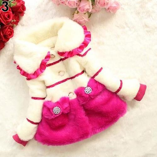 Children Faux Fur Coat Bow Princess Baby Kid Girls Outerwear Winter Warm Top