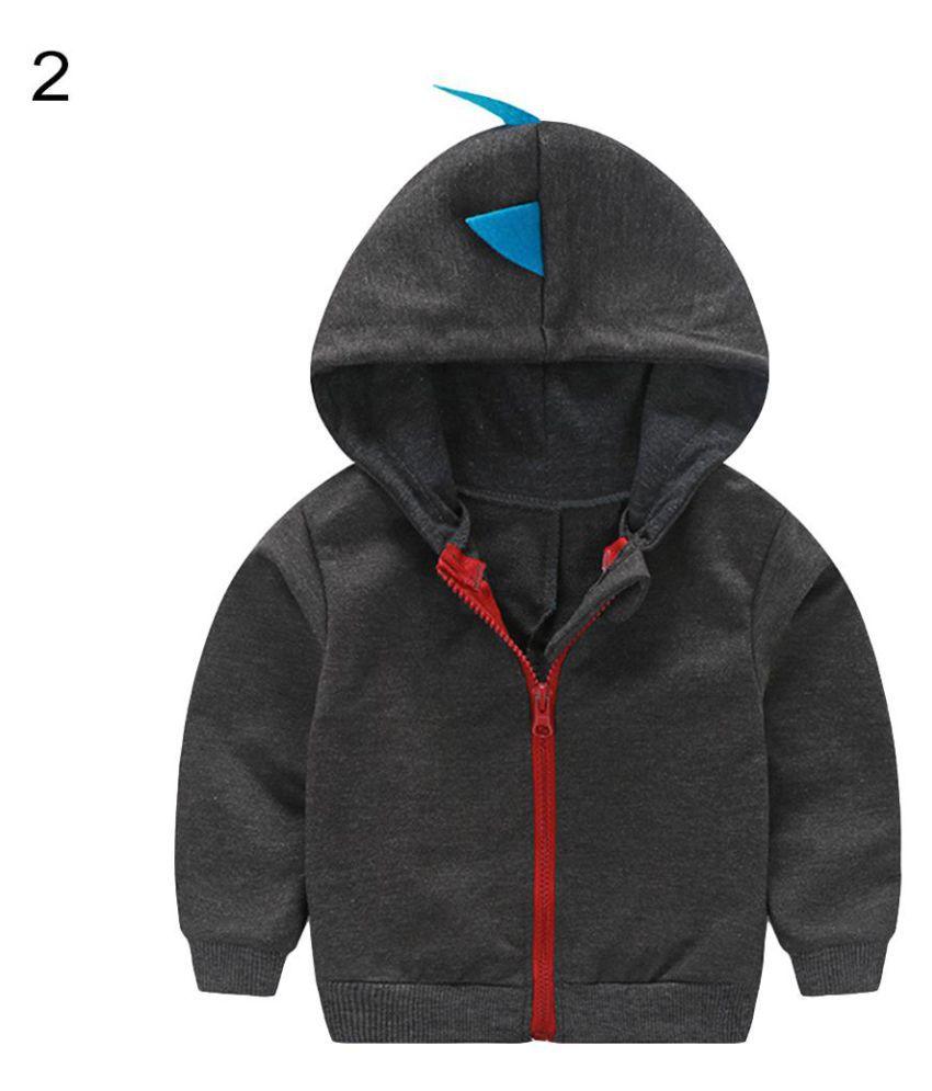 Fashion Toddler Baby Boy Dinosaur Hooded Zippered Sweatshirt Coat Jacket Top
