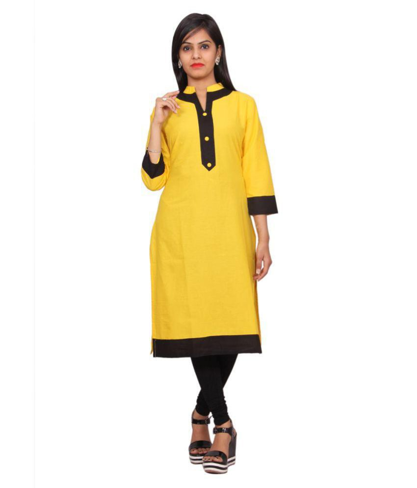 RS Collection Yellow Cotton Straight Kurti
